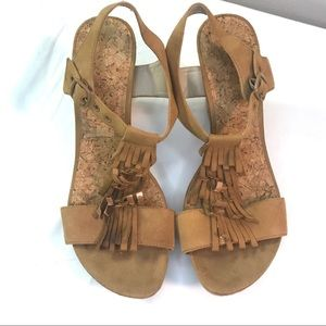 70s vibe cork 4 inch heel wedges with fringe 9.5